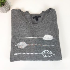 J Crew Sweater Gray Arrows Wool Blend Embroidery